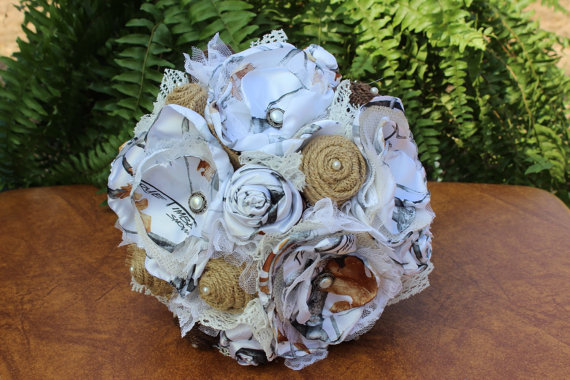 True Timber White Snowfall Camo Bridal Bouquet With Rustic Burlap