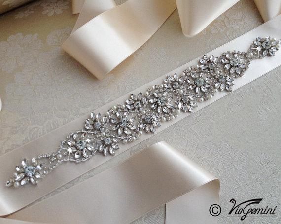 Mariage - Bridal crystal belt , rhinestone sash, bridal sash, bridal belt