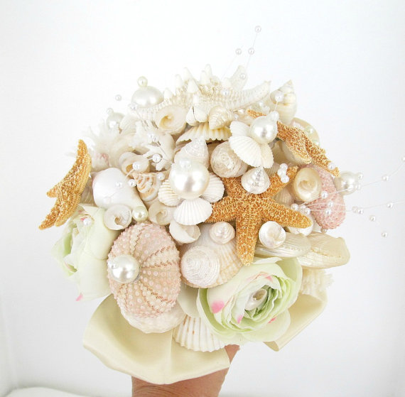 Свадьба - Seashell Beach Wedding Bouquet Shell Bridal Shells Starfish Pale Pink Ivory Pale Green Pearls Flowers for Bride Plus Boutonniere for Groom