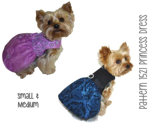 Свадьба - Princess Dog Dress Pattern 1521 * Small & Medium * Dog Clothes Pattern * Dog Harness Dress * Dog Wedding Dress * Designer Dog Clothes