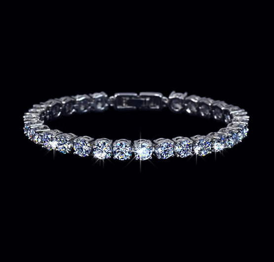 Свадьба - Round 0.5 Ct Cubic Zirconia Wedding Bracelet Tennis Bracelet Diamond Bridal Bracelet Event Jewelry Bridesmaids Bracelet Set Wedding, AB0021