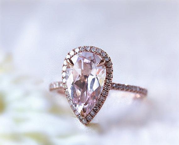 Hochzeit - New Design 9x12mm Pear Shaped  Pink Morganite Diamond Engagement Ring/Morganite Wedding Ring 14K Rose Gold Ring Gemstone Jewelry