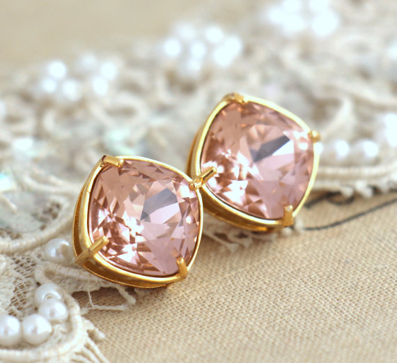 Hochzeit - Blush Pink Stud earrings, Silver Posts Square crystal Stud earrings, Bridesmaids stud earrings,vintage pink, gift for woman,silver earrings.