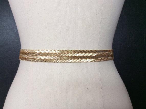 Свадьба - Gold Wedding Sash, Bridal Belt, Thin Gold Belt. Gold Beaded Belt, Gold Bridal Sash, Gold Bridesmaid Belt, Best Friend Bridal 187