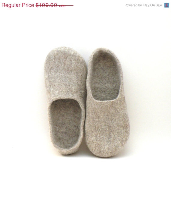 8f77ca9e7c766 SUMMER SALE Felted Slippers Neutral - Natural Beige Wool Clogs ...