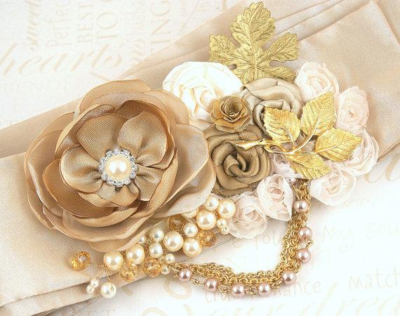 زفاف - Sash, Bridal, Wedding, Tan, Beige, Champagne, Cream, Gold, Leaves, Chains, Brooches, Pearls, Crystals, Vintage, Gatsby Wedding