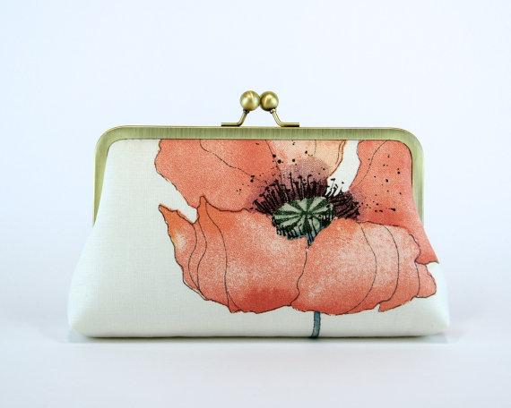 Свадьба - Romantic Poppy in Peach, Bridesmaid Clutch  With Silk Lining, Wedding clutch