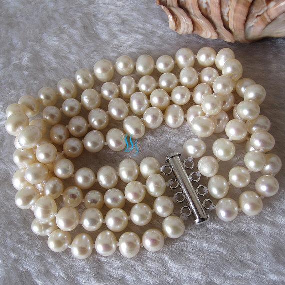 Свадьба - Pearl Bracelet - 8 inches 4 Row 7-8mm White Freshwater Pearl Bracelet - Free shipping