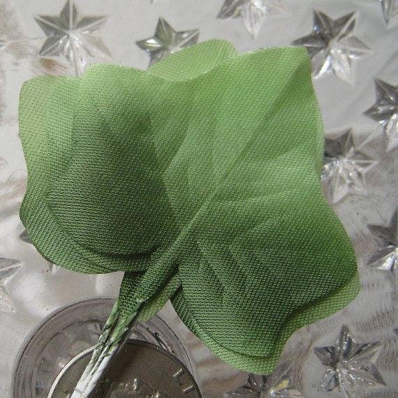 Mariage - Millinery Velvet Leaves Czech Republic 6 Embossed Ombre Green Satin Ivy Leaves