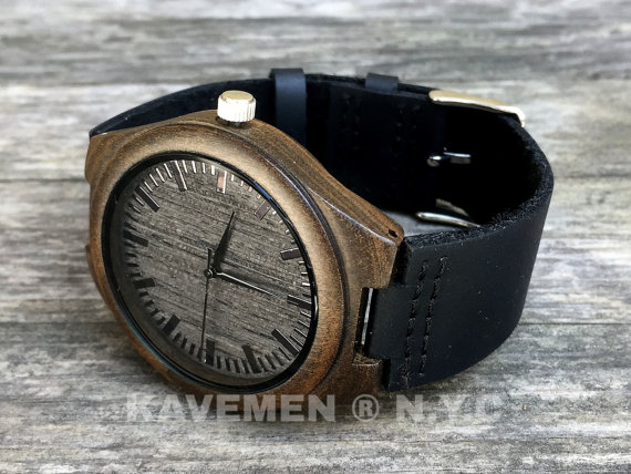 Wedding - Minimalist Engraved Wooden Watch with Genuine Leather, mens watch, groomsmen gift, wood watch Bamboo Watch, men's watch, Kavemen, Brooklyn