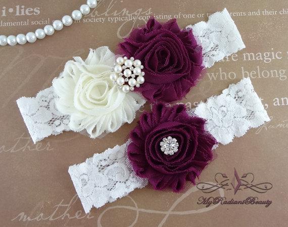 Mariage - Wedding Garter, Garter, Bridal Garter, Garter Set, Chiffon Rosette Ivory Plum Garter, Sexy Garter, Garter Belt, Handmade Garter GTF0026PL