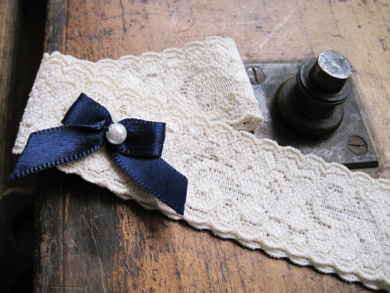Hochzeit - Wedding Garter: Vintage Inspired Beige Lace Garter with Navy Satin Bow