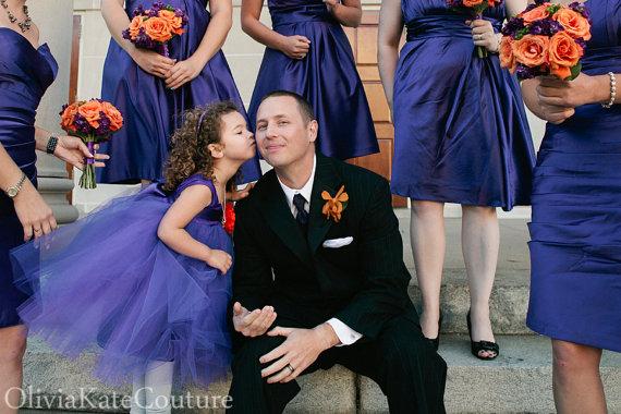 Свадьба - Cotton Flower Girl Dress Purple