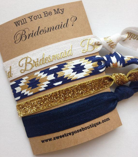 Wedding - Bridesmaid gift, bridesmaids gifts, will you be my bridesmaid, bachelorette party favors, party favors, hair tie favors, FOE hair ties