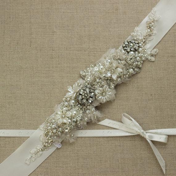 Свадьба - Bridal belt Wedding belt Wedding dress belts sashes Bridal belts sashes Lace sash Lace belt Rhinestone belts sashes