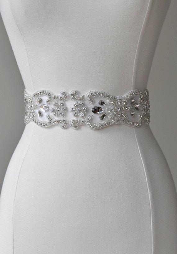 Mariage - SALE - SPECIAL - Bridal crystal belt, rhinestone sash, bridal sash, bridal belt, vintage bridal sash