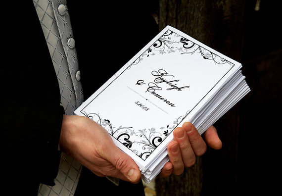 Mariage - DiY Printable Wedding Program Template - DOWNLOAD Instantly - EDITABLE TEXT - Chic Bouquet (Black & Light Silver) - Microsoft® Word Format