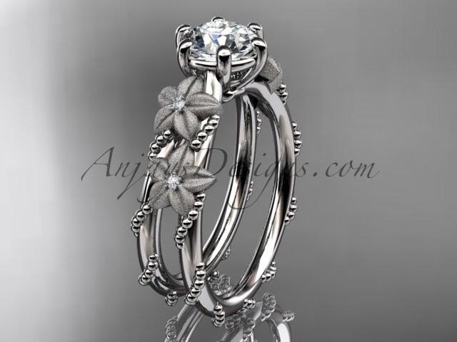 "Mariage - 14kt white gold diamond floral, leaf and vine wedding ring, engagement ring with ""Forever Brilliant"" Moissanite center stone ADLR66"