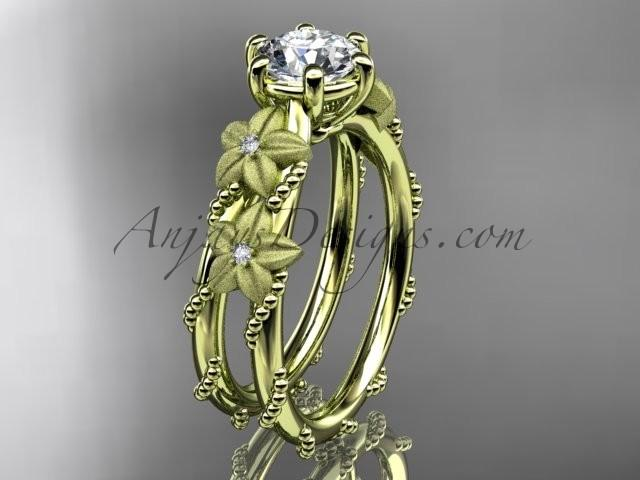 """Wedding - 14kt yellow gold diamond floral, leaf and vine wedding ring, engagement ring with """"Forever Brilliant"""" Moissanite center stone ADLR66"""