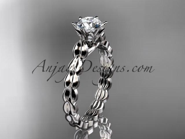"Wedding - Platinum diamond vine and leaf wedding ring, engagement ring with ""Forever Brilliant"" Moissanite center stone ADLR35"