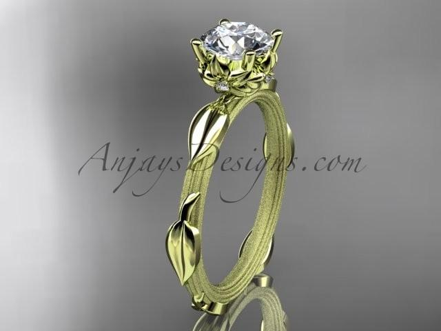 "Wedding - 14k yellow gold diamond vine and leaf wedding ring, engagement ring with a ""Forever Brilliant"" Moissanite center stone ADLR290"