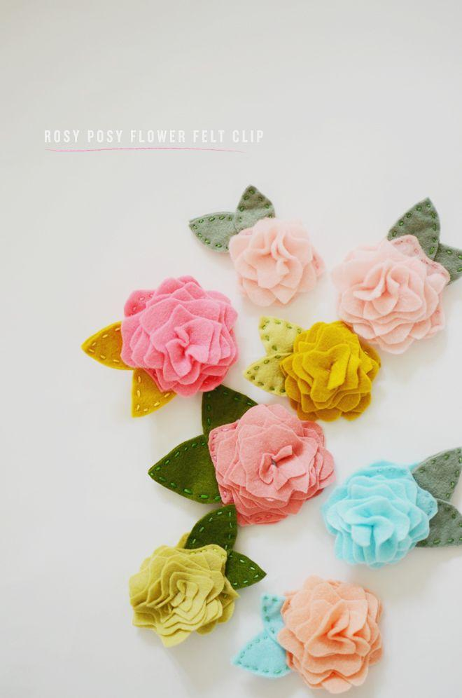 Wedding - Diy: Rosy Posy Flower Felt Clip