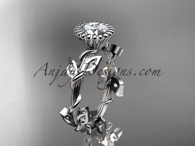 """Hochzeit - 14kt white gold diamond leaf and vine wedding ring,engagement ring with a """"Forever Brilliant"""" Moissanite center stone ADLR20A"""