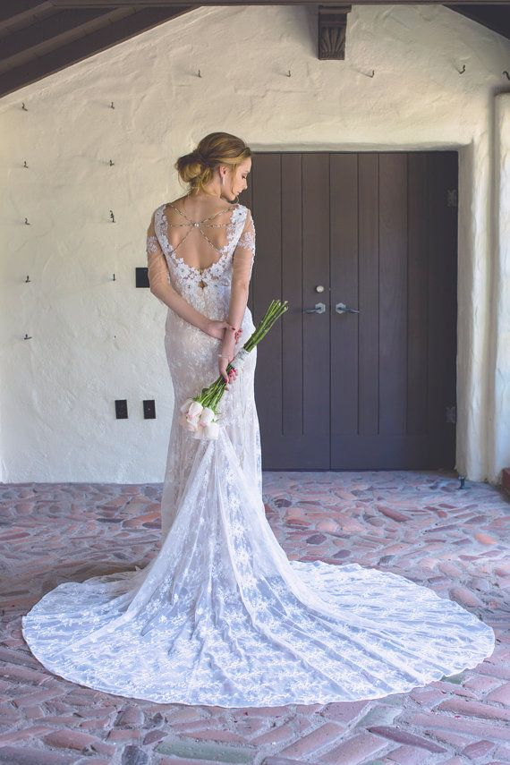 زفاف - Wedding Dress With Sleeves, Illusion Neckline, Glamorous And Sexy, Embellished, Open Back, Stretch Mermaid Gown