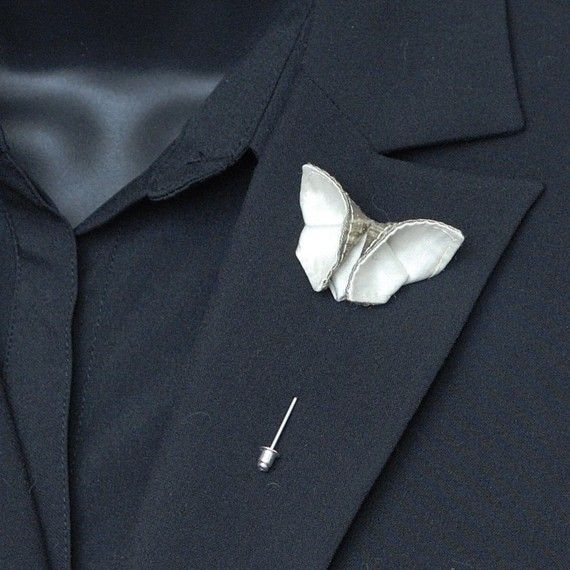 Wedding - Items Similar To Custom Boutonniere Silk Origami Butterfly White Lapel Pin Buttonhole Boutonniere Stick Pin Corsage 100 Silk Colors GROUP DISCOUNT AVAILABLE On Etsy