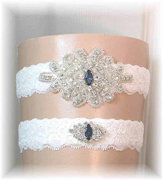 Mariage - Bridal Garter Set, Wedding Garter Set, Stretch Lace Wedding Garters with Navy Blue Accent Crystals, Keepsake and Toss Garters, Bridal Belt