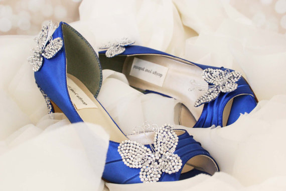 Wedding Shoes Royal Blue Kitten Heel Peep Toe With Silver And Crystal Butterflies Message On Sole