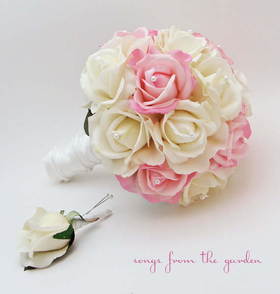 Свадьба - Rose Bridal Bouquet Real Touch Roses White & Light Pink Wedding Bouquet Real Touch Silk Flower Wedding Choose Your Colors