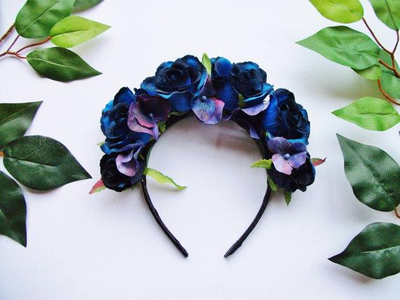 blue rose hydrangea flower crown rose crown wedding bridesmaid festival floral crown headband halloween day of the dead