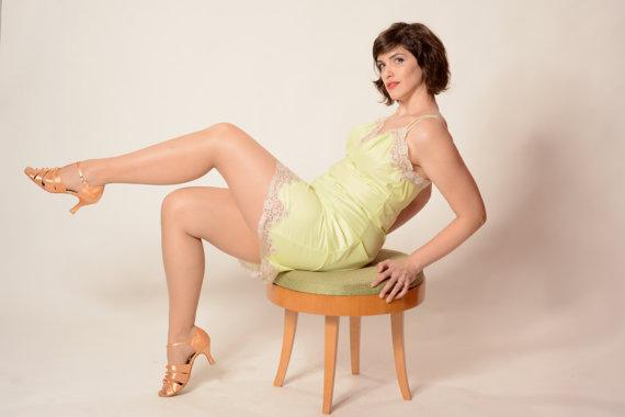 ba05c48ba0781 Vintage 1960s Vanity Fair Lingerie - Chartreuse Lace - Wedding Boudoir  Bridal Fashions