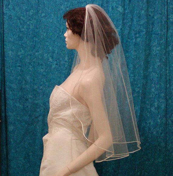 Wedding - Cascading Cut Bridal veil trimmed with a Satin Rattail Cord
