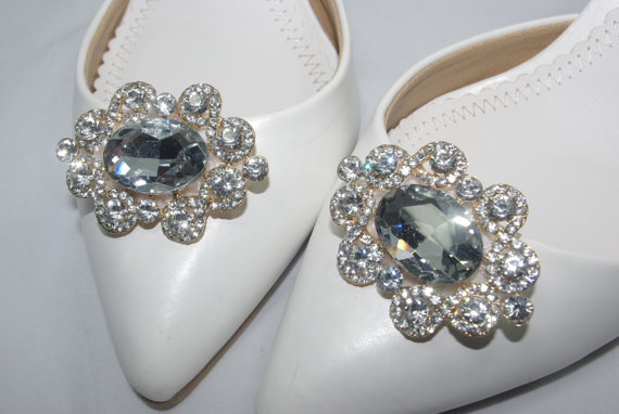5afcd06f7e5fd Crystal Gold Bridal Shoe Clip-ons, Crystal Wedding Shoe Clips, Oval ...