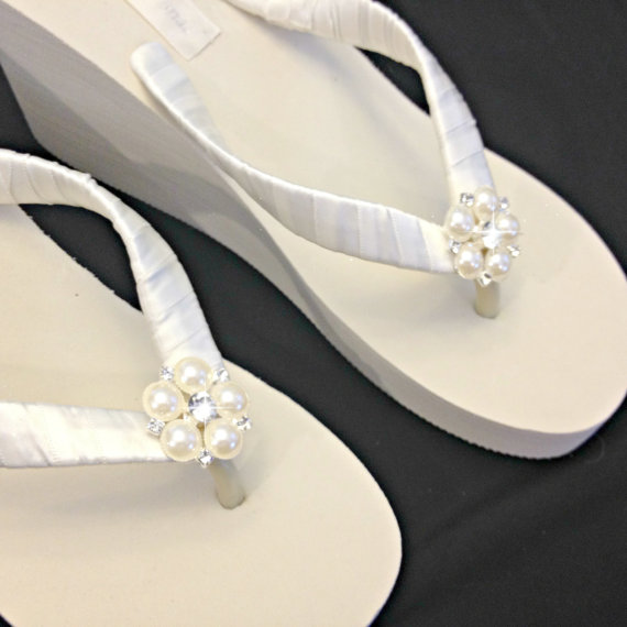 c940698872f Wedge Bridal Flip Flops White Or Ivory Pearl Rhinestone Button ...