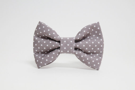 Свадьба - Gray Polka Dot Dog Bowtie