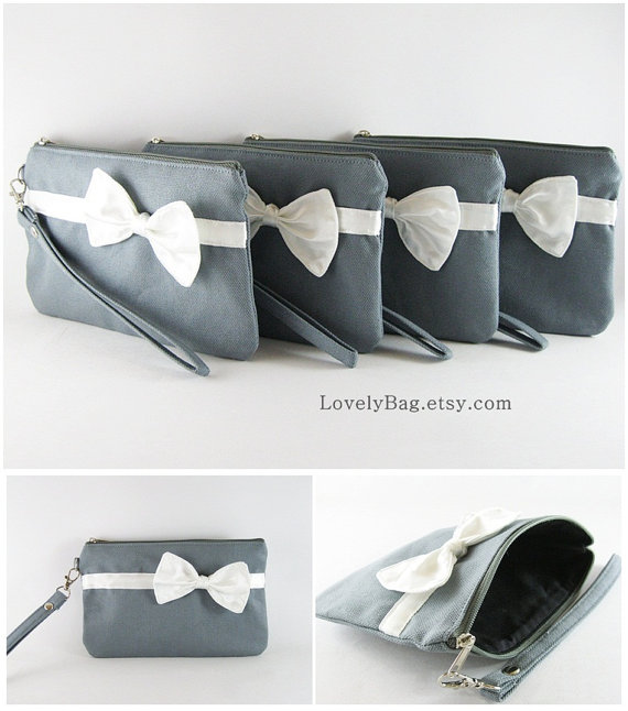 Wedding - Set of 4 Bridesmaids Clutches, Wedding Clutches / Gray with Little Ivory Bow Clutches - MADE TO ORDER
