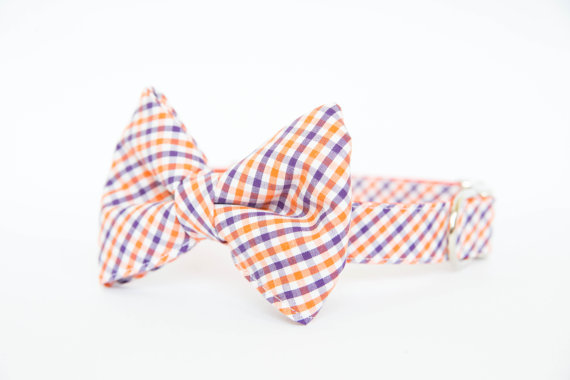 زفاف - Clemson Tigers Bow Tie Dog Collar in Gingham