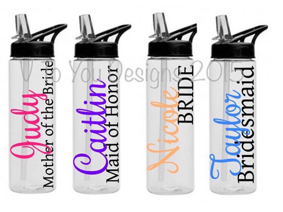Hochzeit - Custom water bottles - Personalized bridal Wedding Party Bride Maid of Honor Bottle, Bridesmaid Bottle, 24 oz BPA free tall bride cup,