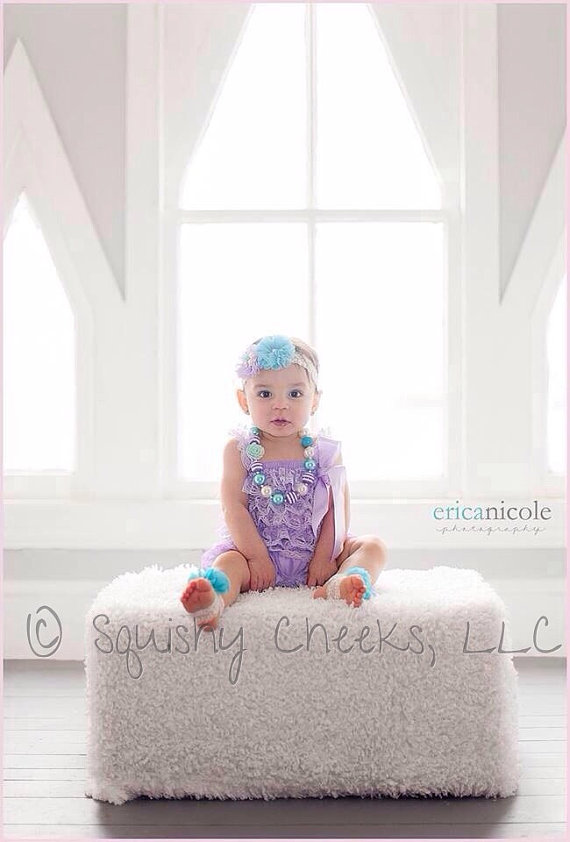 Purple And Aqua Lace Romper Outfit Chunky Necklace Headband And