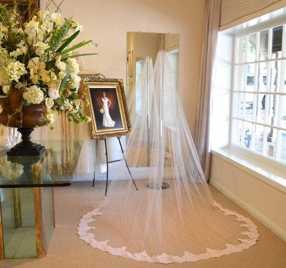 Mariage - Blush Alencon Lace Veil, Cathedral Mantilla Veil, Cathedral Length Wedding Veils, Wedding Veils Mantilla, Mantilla Veil / Blush