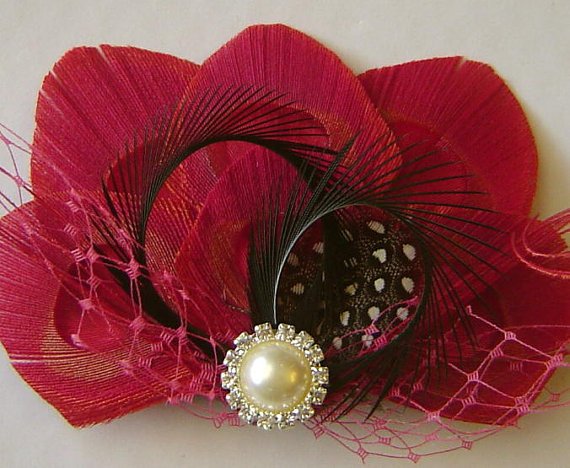 Mariage - CHOCOLATE CHERRIES Red Peacock Hair Clip Peacock Wedding Hair Fascinator Clip with Pink Netting and Rhinestone Pearl
