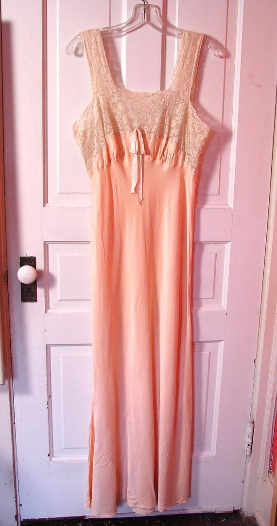 Wedding - Vintage Negligee 30s Satin and Lace Silk Charmeaus Gown M - on sale