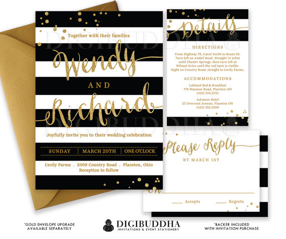 Black Amp White Wedding Invitation Gold Glitter Confetti 3