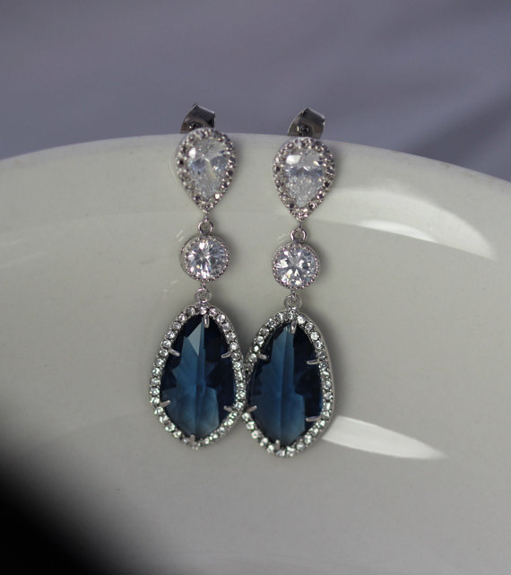 زفاف - long sapphire bridal earring , montana earring , wedding blue earring