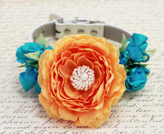 Свадьба - Pastel Orange and Turquoise wedding dog collar, Floral Dog Collar, 2015 wedding color, Turquoise Rose, Pet Wedding accessory, Pastel Wedding