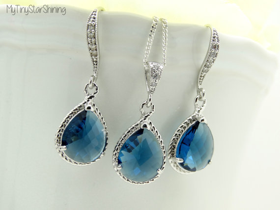 Свадьба - Sapphire Necklace and earrings set  Blue Teardrop Set  Bridal jewelry Bridesmaid Gift  September birthstone Something Blue