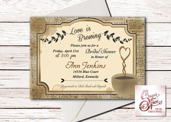 rustic coffee bridal shower invitation love is brewing wedding shower invitations